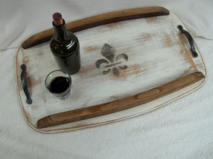Our oak Servizio Tray includes wine stave sides and has several handle options available.
