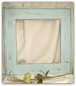 Rinnovi Mirror Frame Shown in our Soft Blue distressed finish