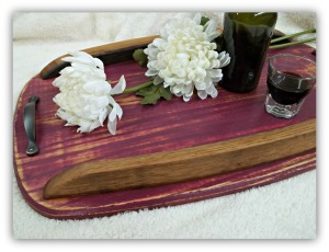 Solid Oak Servizia Tray Available in endless finish options.  Shown here in our Purple Plum.  Wine barrel stave accents.