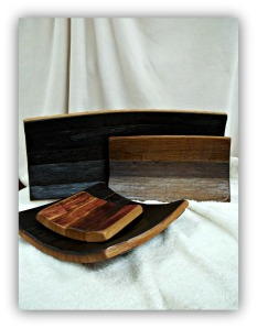 Reclaimed Barrel Staves made into Bread Boards and Trays. Four sizes to choose from.