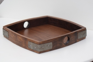 Oak Tray made from reclaimed wine staves and bands.
