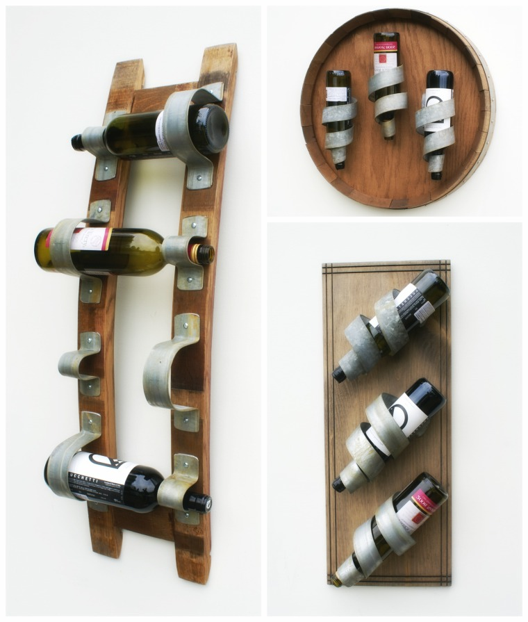 Wine Racks by Sono Inspired.   Up cycling at its finest.  Here we're taking reclaimed wine barrel elements and bringing you wine racks.