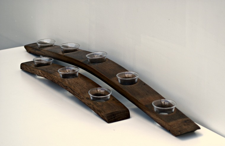 Stave Votive Holders shown here in walnut stain.