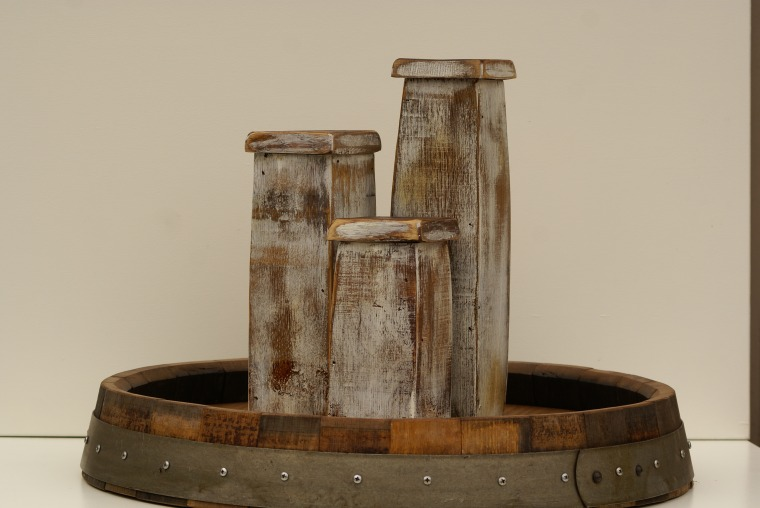 Stave Candle Holder Set in Whitewash