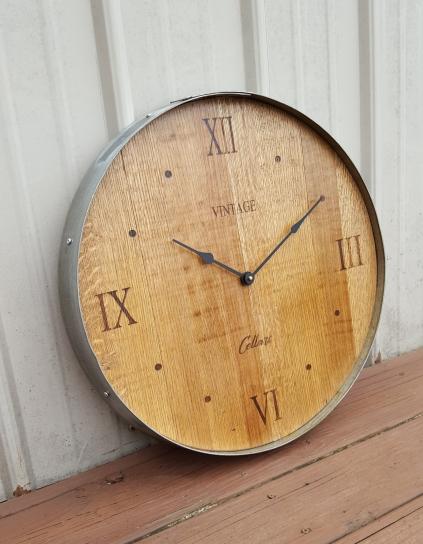 Barrel Head Clock Set in Old Barrel Ring