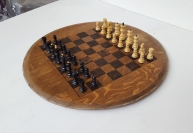 NEW Chess Board on Reclaimed Barrel Head